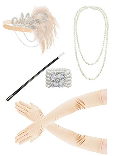 Mens Machen Kostüm Fancy Zu Dress Einfach - 1920s Headband Pearl Necklace Gloves Fancy Dress Accessories Flapper Costume Set