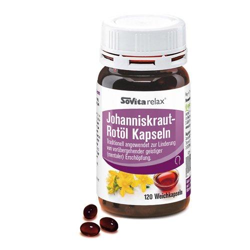 Johanniskraut-Rotöl Kapseln | Entspannung & Geistige Fitness | Kräftigung der Nerven | 120 Kapseln