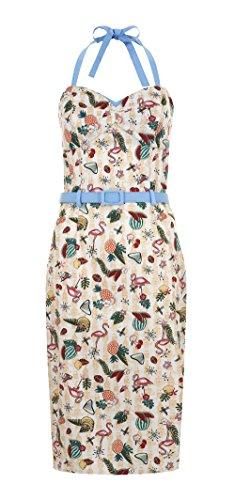 Collectif GINGER Vintage Pin up FLAMINGO Atomic Vixen Pencil Dress / KLEID Weiß mit bunten Motiven