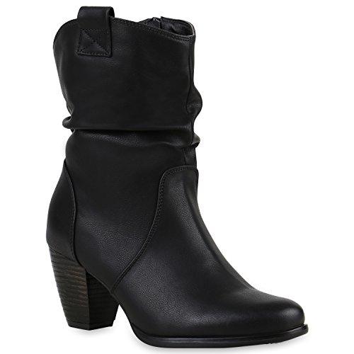 Stiefelparadies Damen Stiefeletten Cowboy Boots Holzoptikabsatz Stiefel Schlupfstiefel Wildleder-Optik Schuhe 123461 Schwarz Cabanas 38 Flandell (Schwarz Wildleder Damen Stiefel)