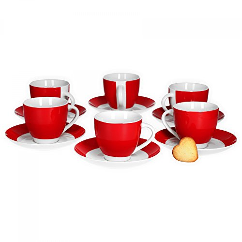 Van Well 6er Set Kaffeetasse mit Untertasse Serie Vario Porzellan - Farbe wählbar, Farbe:rot