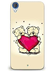 myPhoneMate Teddy Couple Valentine Heart Designer Printed Hard Matte Mobile Case Back Cover for HTC Desire 820s