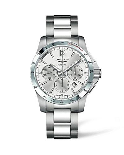 Longines Conquest montre automatique pour homme avec cadran argenté chronographe Affichage et bracelet en acier inoxydable Argenté L27434766