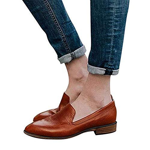 Mokassins Damen Leder Loafer Mit Absatz Halbschuhe Flache Knöchel 2.5 cm Keilabsatz Bootsschuhe Sommer Casual Elegant Braun 40