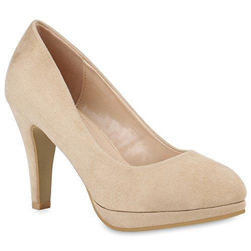 Klassische Damen Schuhe Pumps Stiletto High Heels Wildleder-Optik 154352 Creme 38 Flandell