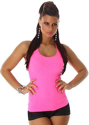 T-shirt Débardeur le top des femmes Jela Londres avec de la dentelle autour du cou retour broderie de nervure Rose