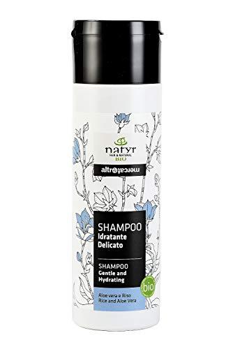 BIO Shampoo mit Aloe Vera und Reisöl ohne Silikone ✔ für häufiges Waschen von Sprödem, Trockenem Haar ✔ Natyr - Fair Trade Naturkosmetik aus Italien ✔ 200ml
