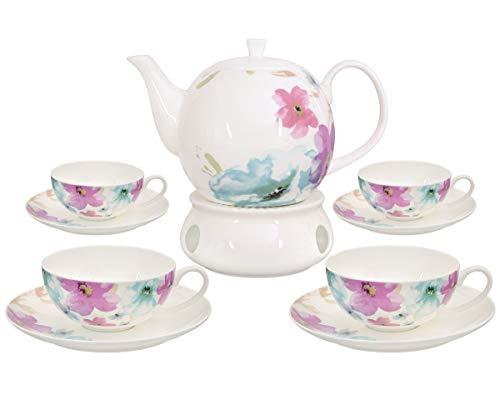 Buchensee Teeservice aus Fine Bone China Porzellan. Teekanne 1,5l mit stilvollem Blumendekor, 4 Teetassen, 4 Unterteller und Stövchen. - China Untertasse