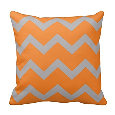 Orange Grey Chevron Throw Pillow Case Square Accent Decorative Bedding Cushion Cover Home