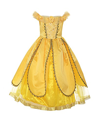 ReliBeauty Mädchen Kleider Schleife Armlos Belle Prinzessin Kleid Rose Blumen Kostüme, Gelb, 122-128(Etikett 120) (Für Tier Kinder Disney Kostüm)