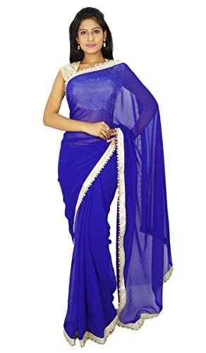 Blaue Saree (Indische traditionelle Partei-Abnutzungs-Sari Designer Georgette Hochzeit Saree)