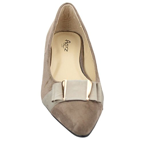 Aarz Women Ladies Casual Comfort Wedge Heel Pump Court Shoes Size ( Black,Khaki,Navy) Kaki