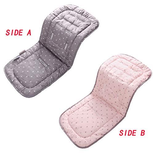 Baby Sitzauflage, 100% Baumwolle Kinderwagen Sitzbezüge Autositz Einlage Pad 32x80 cm Weiche und Reversible Babyschale Sitzauflage für Kinderwagen Buggy Babybett Kinderbett (Rosa + Graues Kreuz)
