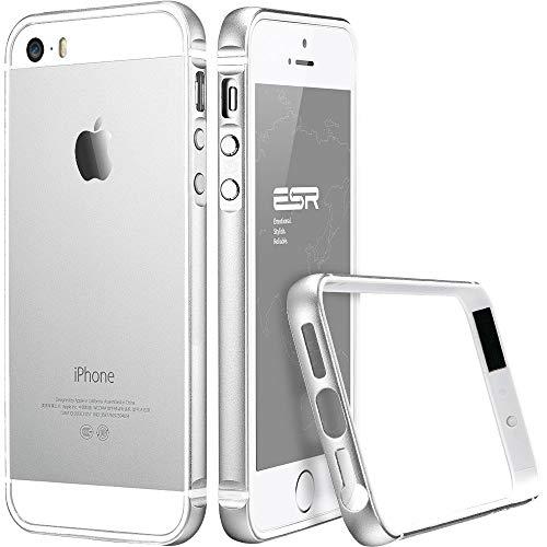 ESR Kompatibel mit iPhone SE Hülle, iPhone 5S Hülle, iPhone 5 Hülle, Fluencia Series Metallrahmen mit weiche TPU Bumper Innerhalb für iPhone SE/5S/5 (Sliber) (Iphone 5 Aluminium Bumper)