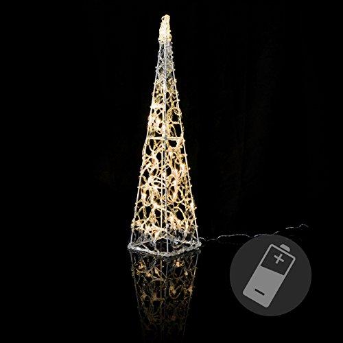Nipach LED Pyramide Lichterkegel - Beleuchtung für Weihnachten innen außen - Acryl-Figur Batterie & Timer - 30 Leuchten warm weiß 60 cm hoch