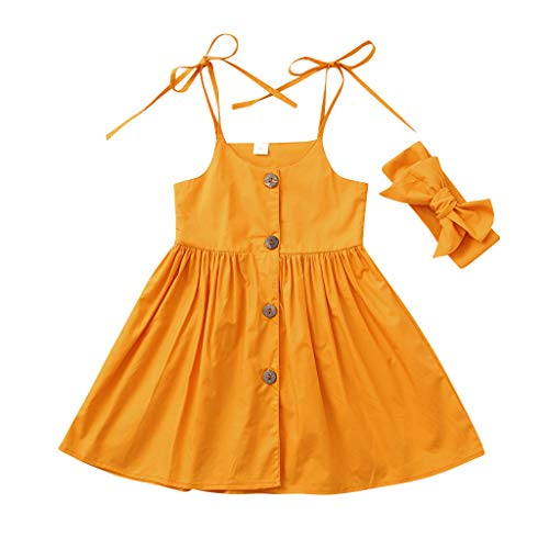 squarex Sommer Kleinkind Baby Mädchen Kinder Kinder Sleeveless Strap Solid Color Print Kleid + Stirnbänder Outfits Cute Comfortable Casual (Zwilling Baby Kostüm)