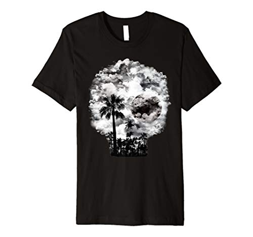 (Gruselige Totenkopf Full Moon Silhouette Halloween T-Shirt Kostüm)