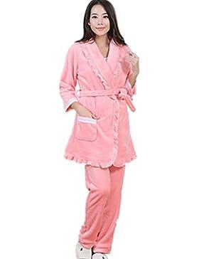 DMMSS Le donne 's autunno e l'inverno camicia da notte più spesso caldo pigiama di flanella a lungo - con maniche...