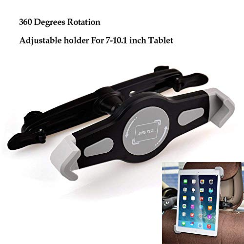 BESTEK Auto Kopfstützenhalterung, iPad Halterung Autohalterung universal für von 7 bis 11 Zoll Tablet, Halter für Apple iPad 1 2 3 4 Air, Samsung Galaxy Tab, Amazon Fire HD, 360° drehbar