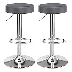SONGMICS Barhocker 2er Set, höhenverstellbare Barstühle mit Kunstlederbezug, 360° Drehstühle mit Fußstütze, Küchenstühle…