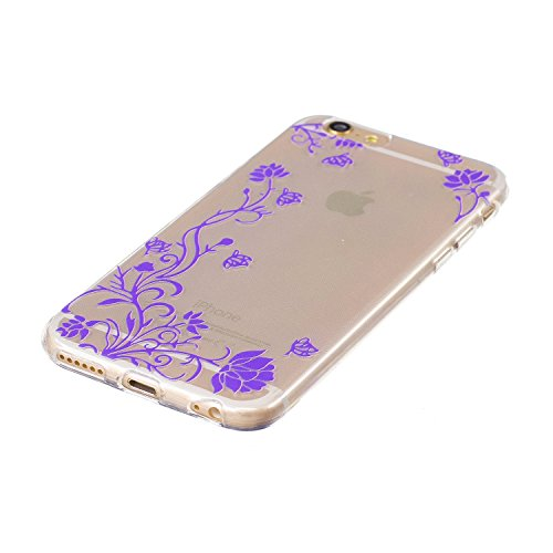 Cover iPhone 7, CXTcase Custodia Soft TPU Silicone Gel Flessibile Sottile Bumper Ultra Slim Trasparente Crystal Cover per Apple iPhone 7 Case Indiana Girasole Nero Viola Fiore Vite