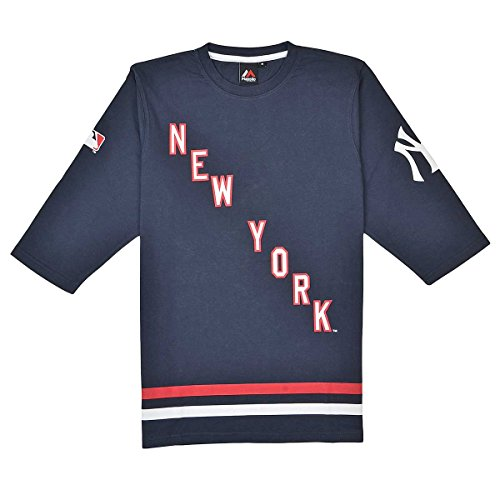 majestic SINCOTS NEW YORK YANKEES 3/4 SLEEVE SHIRT Navy