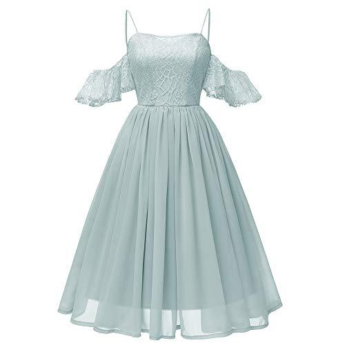 Xmiral Damen Kleid Vintage Prinzessin Blumenspitze Chiffon Rock Cocktail O-Ausschnitt Party A-Line Swing Kleid (M,Grün) -