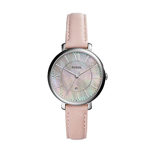 Fossil Jacqueline Leder Armbanduhr Damen rosa – Mit Edelstahlgehäuse silber, Quarz Uhrwerk & analoger Datumsanzeige - idealer Begleiter für jede Gelegenheit