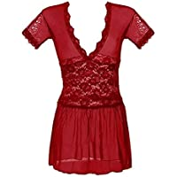 Ropa de dormir para mujeres Más el tamaño de malla de doble V ropa de noche del cordón de ver-a través de la tentación de la muñeca vestido de la noche de la Mujer ( Color : Rojo , tamaño : XL )