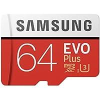 Samsung Carte mémoire microSDHC Pro Plus 64Go UHSClasse de Vitesse 3, Classe 10pour Action Cam, Smartphone et Tablette avec Adaptateur SD (modèle 2017) Evo Plus 64 go Rouge/Blanc