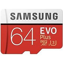 Samsung Speicherkarte MicroSDHC 64 GB EVO Plus UHS Geschwindigkeitsklasse 3, Class 10 für Smartphone und Tablet mit SD-Adapter, (2017 Modell), [Amazon Frustfreie Verpackung]