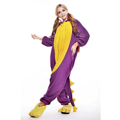 LSERVER-Unisex Pigiama Adulto Animale Cosplay Halloween Costume Attrezzatura Drago infuocato viola