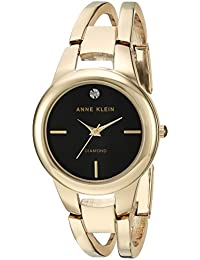 Anne Klein Women's AK/2628BKGB Diamond-Accented Gold-Tone Open Bangle Watch