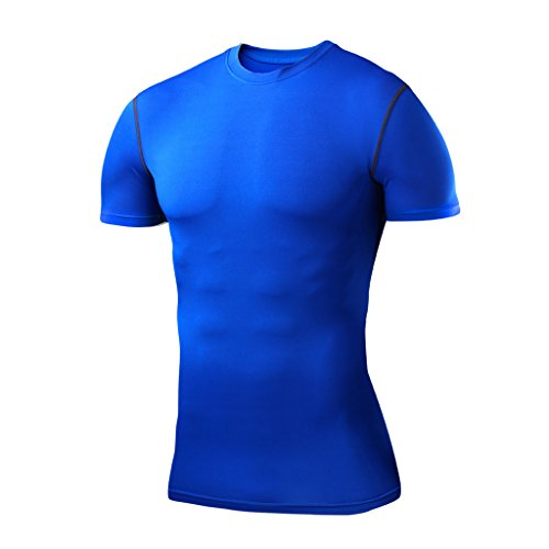 Pro-mesh-boxer (Herren Kind PowerLayer Funktionsunterwäsche Kompressionsshirt Kurzärmelig Armour Compression Top Skins Kurzarm - X Large Boy - Blue)