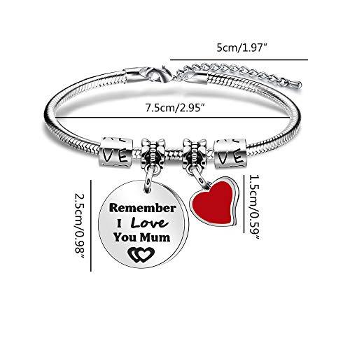 Imagen de pulsera con colgante de corazón rojo para madre con texto en inglés