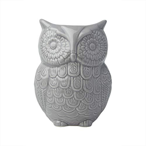 "Comfify Owl Utensil Holder Decorative Ceramic Cookware Crock & Organizer, in Lovely Grey Color - Utensil Caddy and Perfect Kitchen Ceramic Décor Gift - 5"" x 7"" x 4"" Size"