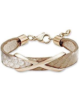 s. Oliver Damen-Armband Edelstahl Leder 19 cm -540