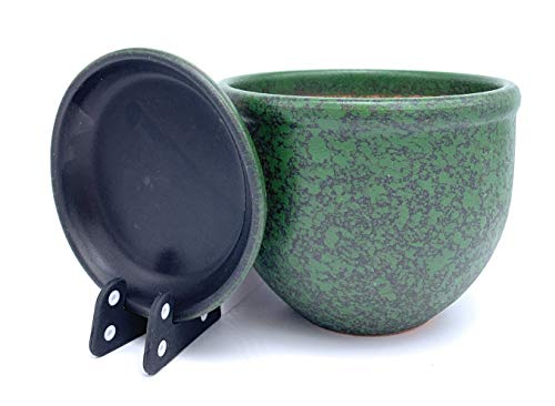 Pot de Fleurs en céramique Verni avec Soucoupe Ronde en Terre Cuite avec bac d'égouttement Pot de Fleurs en Argile Couleur Standard, Vert, 23cm x 17cm