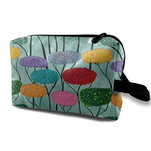 Colorful Forest_7892 - Trousse per cosmetici da viaggio, da appendere, per donne e ragazze, 25,4 x 12,7 x 15,9 cm