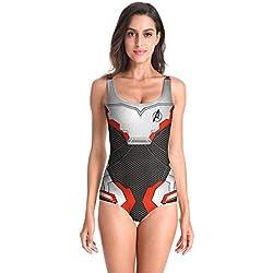San qing Maillot de Bain Femme, Maillot de Bain Quantum Manwei Imprimé Maillot de Bain Femme - Avengers Bikini,Black,S/M