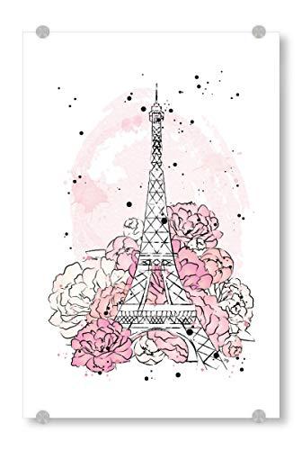 artboxONE Acrylglasbild 30x20 cm Natur Peony Paris Bild hinter Acrylglas - Bild travel Eiffel Tower Paris