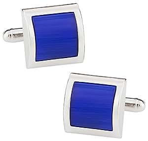 Boutons de manchettes - Carrés bleu et argent avec boîte de présentation