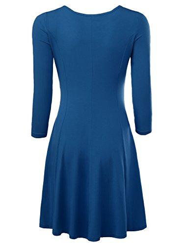 BAISHENGGT Damen Skaterkleid Rundhals 3/4-Arm Fattern Stretch Basic Kleider Hellblau
