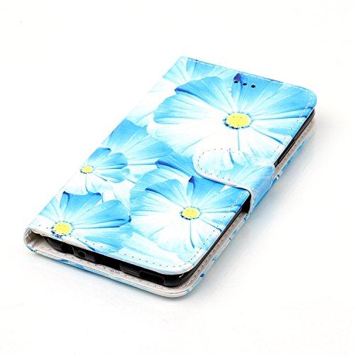 Qiaogle Téléphone Coque - PU Cuir rabat Wallet Housse Case pour Apple iPhone 7 (4.7 Pouce) - YH74 / Dreamcatcher YH71 / Bleu Tournesol