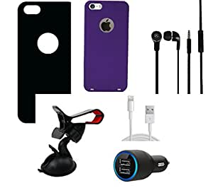 NIROSHA Tempered Glass Screen Guard Cover Case Charger Headphone for Apple iPhone 5 - Combo