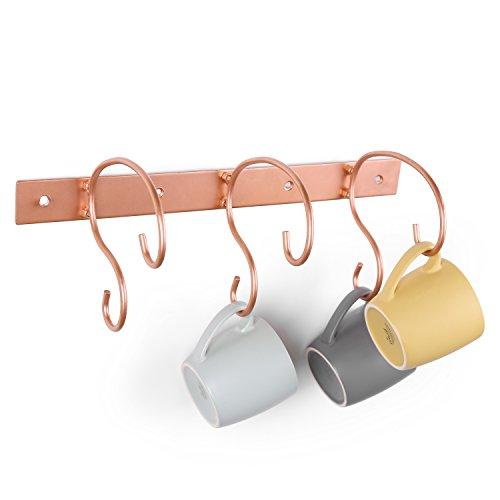 MyGift Wand montiert 6-Hook Rankenwerk Design Copper-Tone Mug & Tea Cup Rack Mug Rack