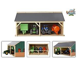 Kids Globe Globo niños - 610047 - Hangar de Madera para Tractores - 1/50 Escala