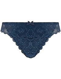 Guy de France 911757-D-093 Women s Blue Solid Colour Lace Panty Thong bc588a56a