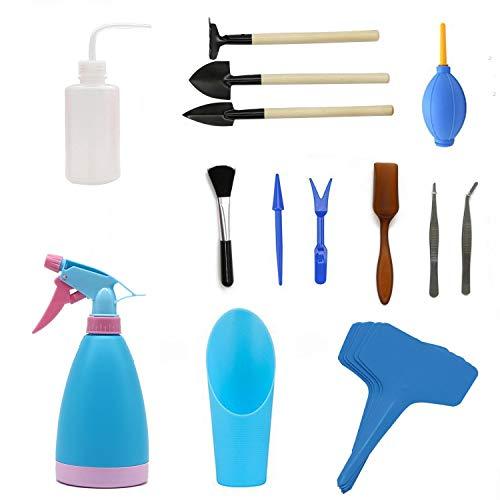 Warooma Lot de 18 mini outils de jardinage, outil de repiquage à la main, outils de plantation miniatures pour intérieur/extérieur