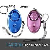 2er Taschenalarm Persönlicher Alarm 140dB Sirene Selbstverteidigung Sicherheit Schlüsselanhänger für Frauen Kinder